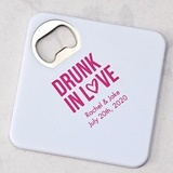 Personalized Plastic Drink Coaster w/ Bottle Opener (Numerous Designs)