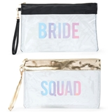 Large Clear PVC Plastic Makeup Bag for Bridal Party (Black/Gold Trim)