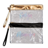 Personalized Large Clear PVC Plastic Makeup Bag with Script Font Text