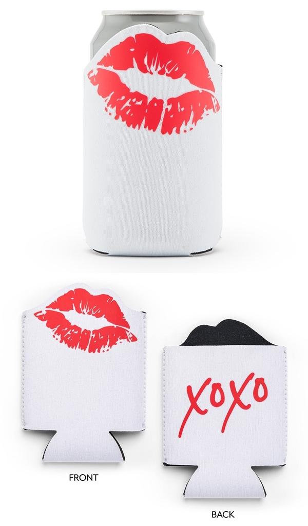 """Weddingstar """"XOXO"""" Red Lips Design Neoprene Drink Holder"""