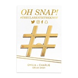 """Oh Snap!"" Gold Hashtag Bottle Opener w/ Personalized Backer"
