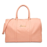 Custom Embroidered Faux Leather Weekender Travel Bag - Light Pink