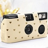 Weddingstar Single Use Ivory and Gold Hearts Design Wedding Camera