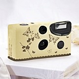 Weddingstar Ivory And Gold Butterfly Garden Disposable Camera