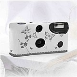 Weddingstar Butterfly Garden White And Silver Single Use Camera