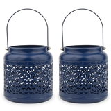 Weddingstar Small Vintage Navy Blue Metal Hanging Lanterns (Set of 2)