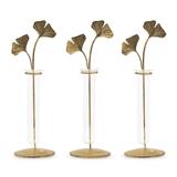 Weddingstar Gold Leaf Glass Test Tube Flower Vases (Set of 3)