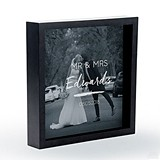 Personalizable Shadow Box Photo Frame - Script Font Etching (2 Colors)