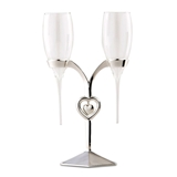 Glass Champagne Flutes with Silver-Plated Stand with Heart Charm