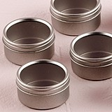 Weddingstar Round Metal Candy Tins with Clear Top Lids (Set of 8)