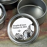 Round Tins w/ Clear Top Lids & Personalized Floral Stickers (Set of 8)
