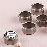 Round Tins w/ Clear Top Lids & Personalized Damask Stickers (Set of 8)