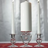 Weddingstar Suspended Heart Motif Silver-Plated Unity Candle Holders