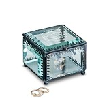 Vintage-Inspired Glass Jewelry Box with Monogram Gem Stone Etching