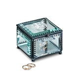 Modern Fairy Tale Monogram Etching Vintage-Inspired Glass Jewelry Box