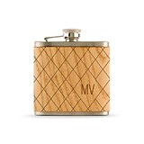 Weddingstar Wood Wrapped Hip Flask with Argyle Monogram Etching