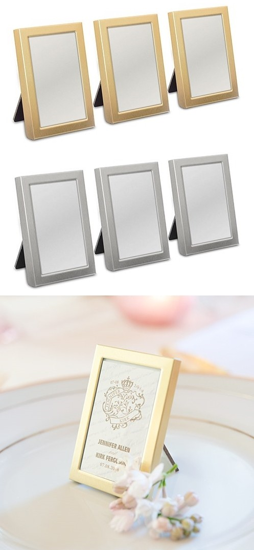 Easel-Backed Mini Photo Frames in Gold or Silver Metal (Set of 3)
