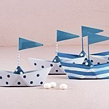 Weddingstar Polka Dot & Striped Miniature Metal Sail Boats (Set of 6)