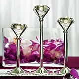 Silver-Plated Diamond-Ring-Shaped Tealight Holders (Set of 3)
