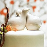 Weddingstar Glazed Porcelain Contemporary Love Birds Cake Toppers