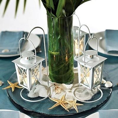 White Mini Lantern Wedding Centerpieces With Hangers Set Of 2