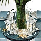 White Mini Lantern Wedding Centerpieces with Hangers (Set of 2)