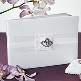 Weddingstar Classic Double Heart Traditional Guest Book (Ivory/White)