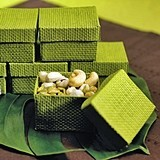 Weddingstar Grass Green Woven Favor Boxes with Lids (Set of 6)