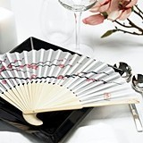 Bamboo-Ribbed Cherry Blossom Print Silk Hand Fans (Set of 6)