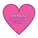 Personalized Heart-Shaped Thank You Stickers (16 Colors) (Set of 2)