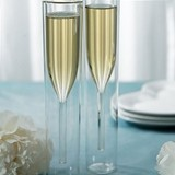 Personalizable Contemporary Hollow-Stem Wedding Champagne Flutes