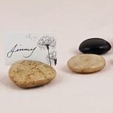 Natural Polished Stones with Etched Card Holder Slot (Set of 8)