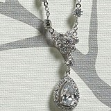 Weddingstar Crystal Flower & Pear Drop in Silver Jewelry Necklace