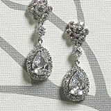 Weddingstar Crystal Flower & Pear Drop in Silver Jewelry Earrings