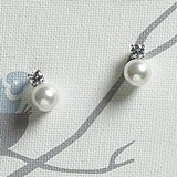 Weddingstar White Pearl with Crystal Jewelry Earrings