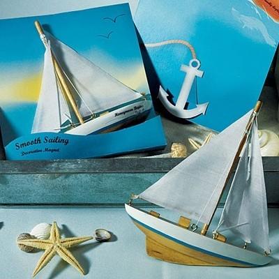 """Smooth Sailing"" Sailboat Magnet Gift Favor (Set of 6)"