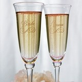 Weddingstar Bride & Groom Etched Wedding Champagne Flutes (Set of 2)