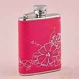 Monogrammed Magenta Faux-Leather Floral-Embroidery Flask for Her