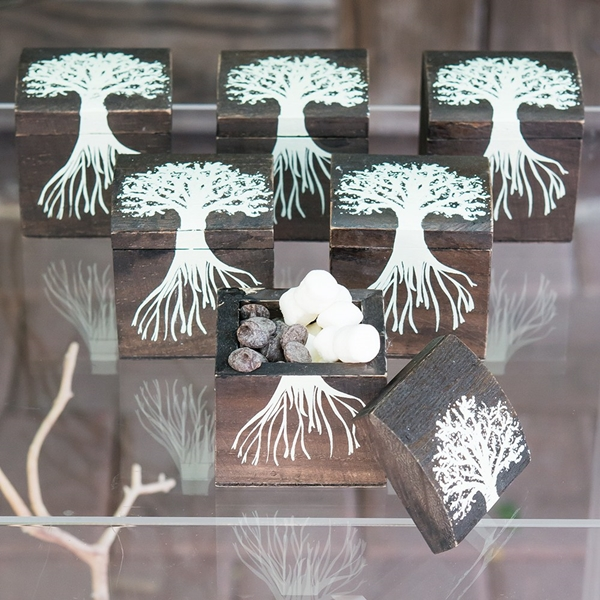 Exclusive Tree & Roots Design Miniature Wooden Box with Lid (Set of 6)
