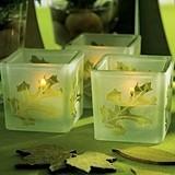 Deep Sandblasted Leaf Design Glass Cube Tea Light Holders (Set of 8)