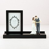 Personalizable Black Wooden Keepsake Display Stand with Floating Frame
