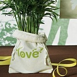 ECO Mini Organic Cotton Drawstring Bag w/ Green LOVE Print (Set of 12)