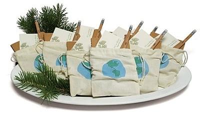 ECO Miniature Cotton Drawstring Bags w/ Loving Earth Print (Set of 12)