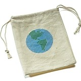 ECO Miniature Cotton Drawstring Bags w/ Loving Earth Print (Set of 12)