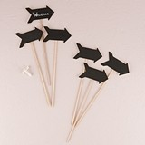 Wooden Black Board Sticks in Directional Arrow Shape (Set of 6)