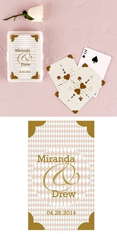 Metallic Gold Hearts Playing Cards in Personalized Case (6 Decks)