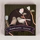 Personalized Love Birds Cork-Backed Coaster Set in Gift-Box (Set of 2)