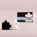 Porcelain Salt & Pepper Puzzle Pieces Shakers in Gift Box (Set of 2)