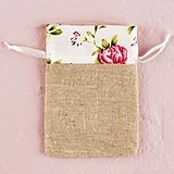 Mini Linen Drawstring Pouches with English Tea Rose Trim (Set of 12)