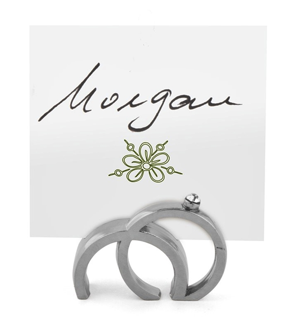 Double Rings Design with Crystal Place Card Holders (Set of 8)
